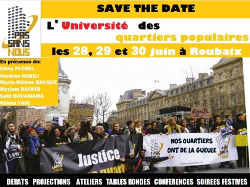L'Université des quartiers populaires, les 28, 29 et 30 juin à Roubaix